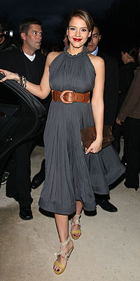 Celeb Fashion Hit or Miss? - JESSICA ALBA - Jessica Alba : People.com :  wedges jessica alba gray dress celebrity