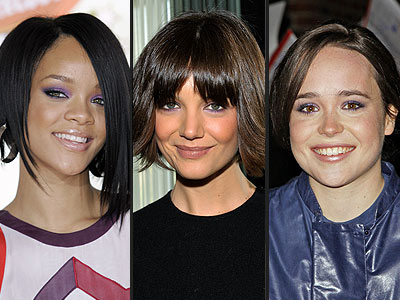 Would You Wear These Beauty Trends? - PURPLE EYESHADOW - Ellen Page, Katie Holmes, Rihanna : People.com :  rihanna purple eyeshadow katie holmes