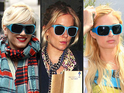 TURQUOISE SUNGLASSES photo | Gwen Stefani, Paris Hilton, Sienna Miller
