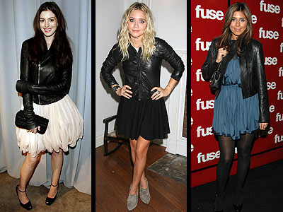 LEATHER JACKETS OVER DRESSES  photo | Anne Hathaway, Ashley Olsen, Jamie-Lynn Sigler