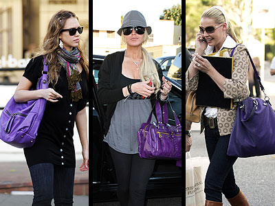 PURPLE PURSES  photo | Jessica Alba