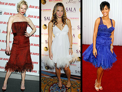 FEATHERED DRESSES photo | Molly Sims, Renee Zellweger, Rihanna