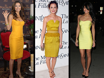 YELLOW STRAPLESS DRESSES photo | Cassie, Eva Longoria-Parker, Leighton Meester