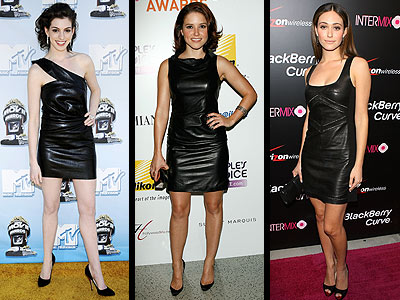 BLACK LEATHER DRESSES photo | Anne Hathaway, Emmy Rossum, Sophia Bush