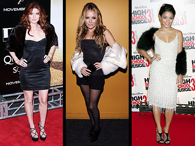 FUR JACKETS photo | Becki Newton, Debra Messing, Vanessa Hudgens