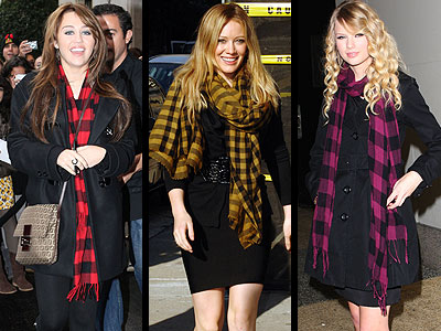 BUFFALO PLAID SCARVES photo | Hilary Duff, Miley Cyrus, Taylor Swift