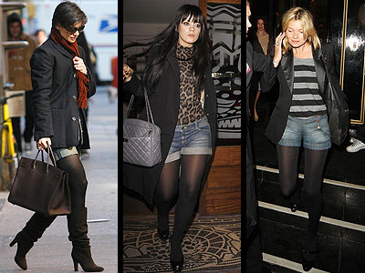 JEAN SHORTS AND TIGHTS photo | Kate Moss, Katie Holmes, Lily Allen