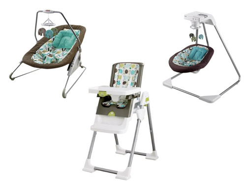 ... gear we love: the new Fisher-Price DwellStudio for Target line.  Including their popular cradle swing ($140), a bouncer