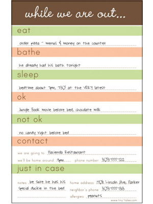 babysitting information sheets