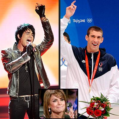 photo | Adam Lambert, Michael Phelps, Paula Abdul
