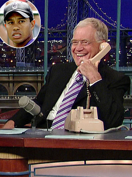  photo | David Letterman, Tiger Woods