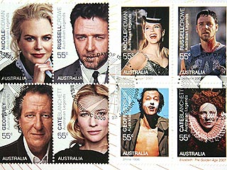Nicole Kidman, Cate Blanchett Happy to Be Licked – on Stamps| Cate Blanchett, Geoffrey Rush, Nicole Kidman, Russell Crowe
