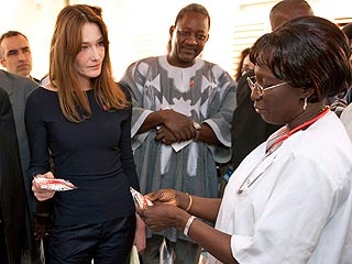 Carla Bruni-Sarkozy Visits West African AIDS Clinic