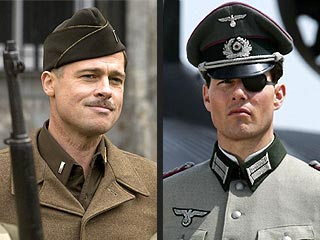Brad Pitt in Inglorious Bastards, Tom Cruise in Valkyrie