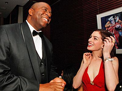 SHE'S GAME photo | Anne Hathaway, Magic Johnson