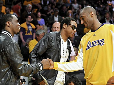 WATCHING THE PLAYOFFS photo | Jay-Z, Kobe Bryant, Sean \P. Diddy\ Combs