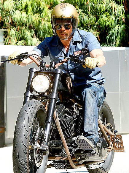 RIDING A MOTORCYCLE photo | Brad Pitt
