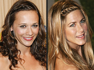 About fashion plaits hairstyle. Rashida Jones and Jennifer Aniston stay