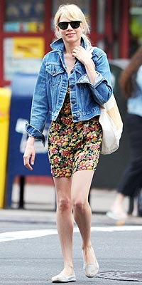 JEAN JACKETS AND FLORAL DRESS photo | Michelle Williams