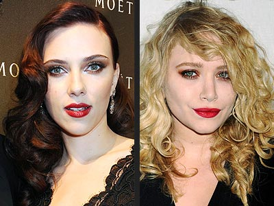 SMOKY EYES & RED LIPS photo | Mary-Kate Olsen, Scarlett Johansson