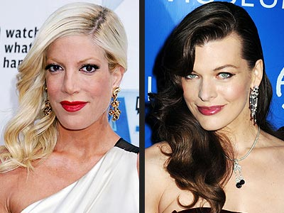 SIDE-SWEPT WAVES photo | Milla Jovovich, Tori Spelling