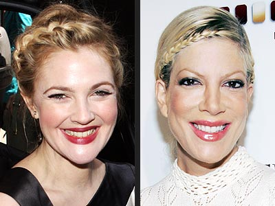 BRAIDED UPDO photo | Drew Barrymore, Tori Spelling