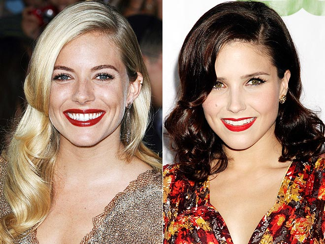 STRUCTURED WAVES & RED LIPS photo | Sienna Miller, Sophia Bush