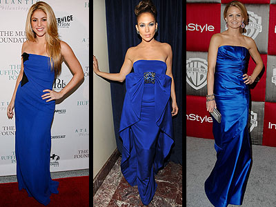 COBALT BLUE GOWNS  photo | Jennifer Lopez, Jennifer Morrison, Shakira