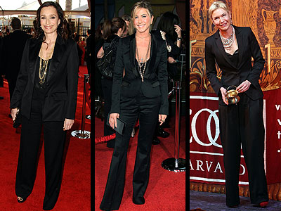 TUXEDO PANTSUITS  photo | Jennifer Aniston, Kristin Scott-Thomas, Renee Zellweger