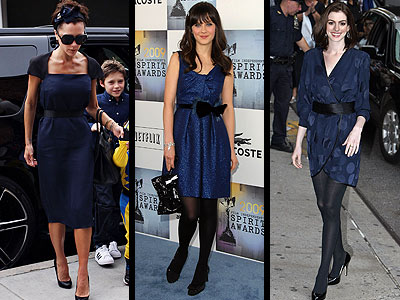 NAVY AND BLACK DRESSES photo | Anne Hathaway, Victoria Beckham, Zooey Deschanel