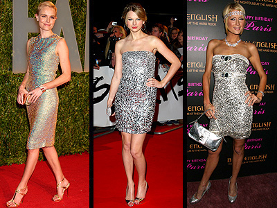 SPARKLING SILVER DRESSES  photo | Kate Bosworth, Paris Hilton, Taylor Swift