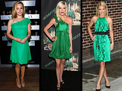 RUFFLED GREEN DRESSES photo | Hayden Panettiere, Kelly Ripa, Tori Spelling