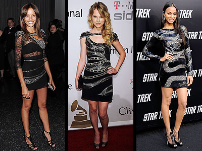 BLACK AND SILVER DRESSES photo | Selita Ebanks, Taylor Swift, Zoe Saldana