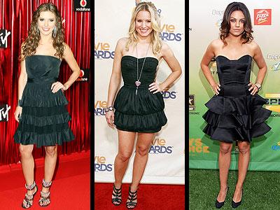 BLACK TIERED DRESSESphoto | Audrina Patridge, Kristen Bell, Mila Kunis