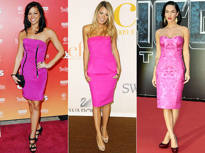 FUCHSIA STRAPLESS DRESSES photo | Blake Lively, Megan Fox, Melissa Rycroft