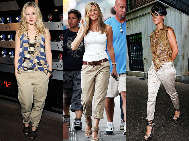 CUFFED KHAKIS  photo | Jennifer Aniston, Kristen Bell, Rihanna