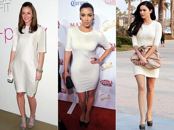 WHITE SHEATH DRESSES  photo | Kim Kardashian, Leighton Meester, Megan Fox
