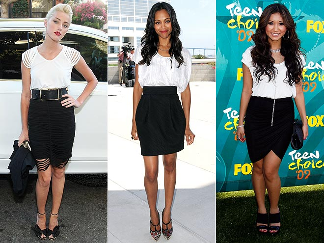 WHITE TOPS AND BLACK SKIRTSphoto | Amber Heard, Brenda Song, Zoe Saldana