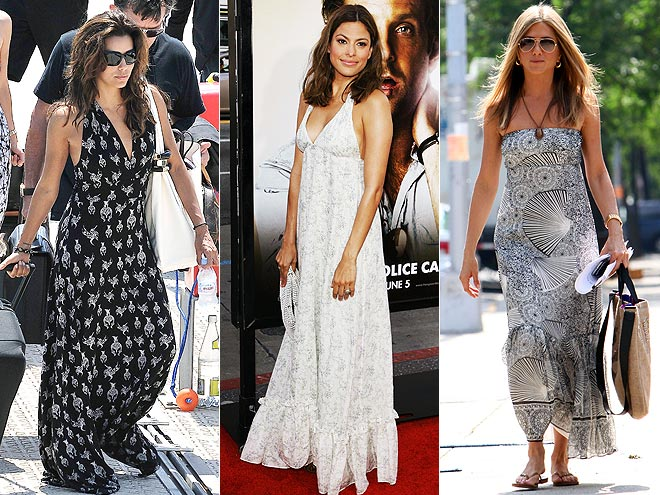 BLACK AND WHITE MAXIDRESSES  photo | Eva Longoria, Eva Mendes, Jennifer Aniston