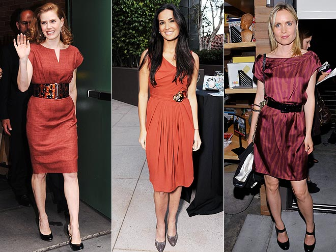 RUST-COLORED DRESSES photo | Amy Adams, Demi Moore, Radha Mitchell