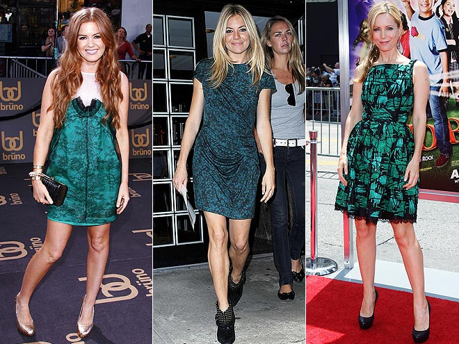 BLACK AND GREEN DRESSES photo | Isla Fisher, Leslie Mann, Sienna Miller