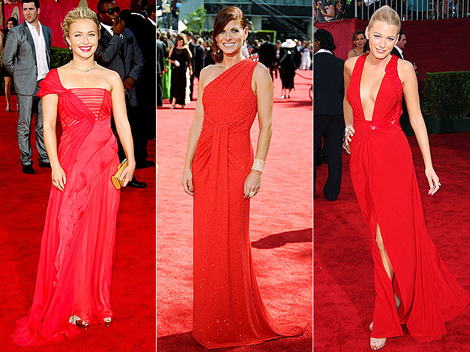 RED GOWNS  photo | Would You Wear These Trends, Blake Lively, Debra Messing, Hayden Panettiere