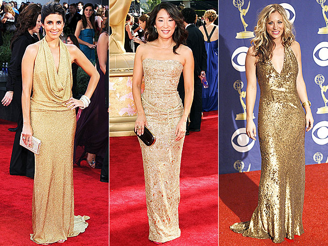 GOLD GOWNS photo | Would You Wear These Trends, Jamie-Lynn Sigler, Kaley Cuoco-Sweeting, Sandra Oh