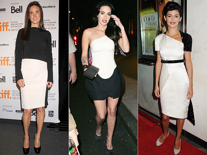 BLACK-AND-WHITE DRESSES  photo | Would You Wear These Trends, Audrey Tautou, Jennifer Connelly, Megan Fox