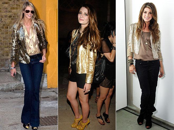 GOLD SEQUINED BLAZERSphoto | Elle Macpherson, Mischa Barton, Shenae Grimes