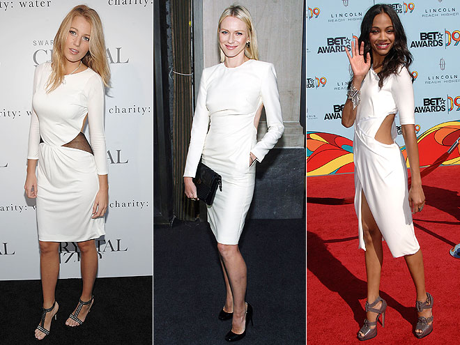 CUTOUT WHITE DRESSES  photo | Would You Wear These Trends, Blake Lively, Naomi Watts, Zoe Saldana