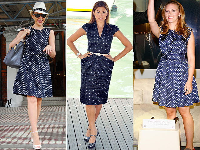 POLKA DOT DRESSES photo | Would You Wear These Trends, Eva Mendes, Kylie Minogue, Scarlett Johansson