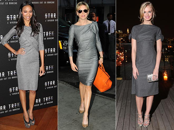 GRAY SHEATHS  photo | Would You Wear These Trends, Renee Zellweger, Sara Paxton, Zoe Saldana