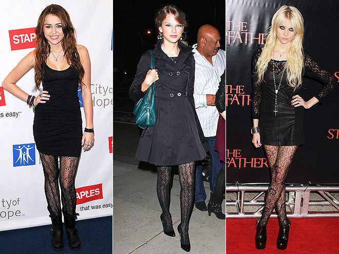 LACE TIGHTS  photo | Would You Wear These Trends, Miley Cyrus, Taylor Momsen, Taylor Swift