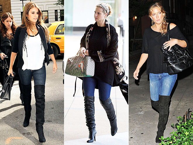 THIGH-HIGH BOOTS AND JEANS  photo | Would You Wear These Trends, Heidi Klum, Kate Hudson, Penelope Cruz